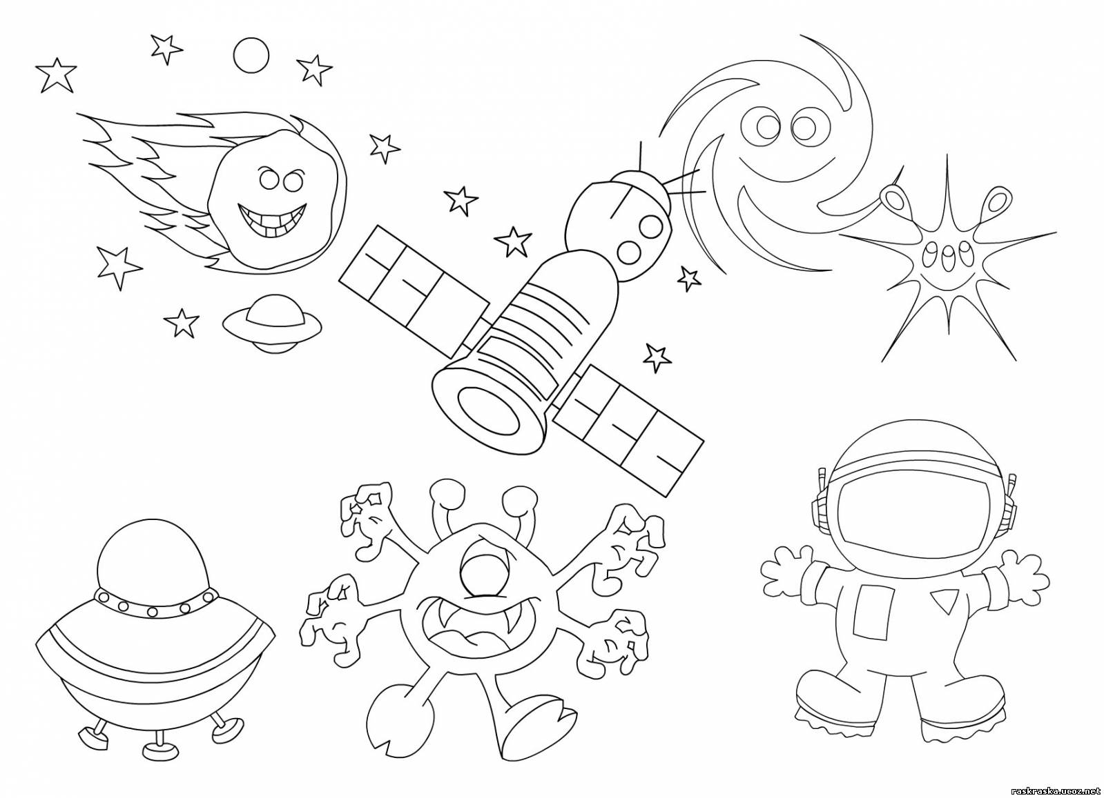 Раскраска космос - Разные раскраски - Разукрашки и ...