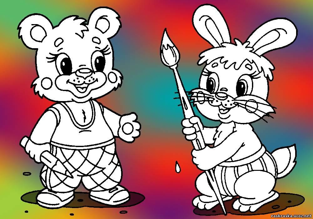 Раскраски мишек и зайчиков